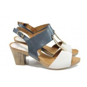 Дамски сандали - естествена кожа - сини - EO-10671