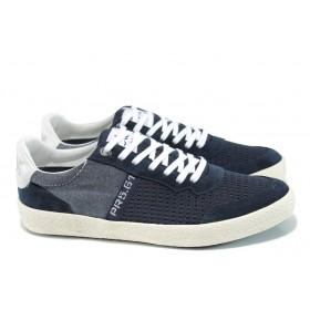 Спортни мъжки обувки - естествена кожа в съчетание с текстил - тъмносин - EO-10673