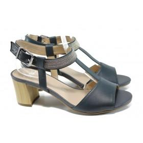 Дамски сандали - естествена кожа - сини - EO-10670