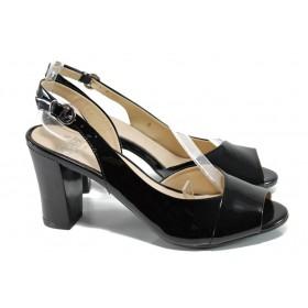 Дамски сандали - естествена кожа-лак - черни - EO-10668