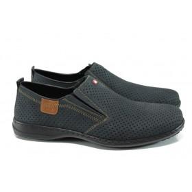 Мъжки обувки - естествена кожа - тъмносин - EO-10690