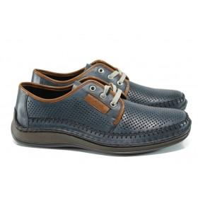 Мъжки обувки - естествена кожа - тъмносин - EO-10691