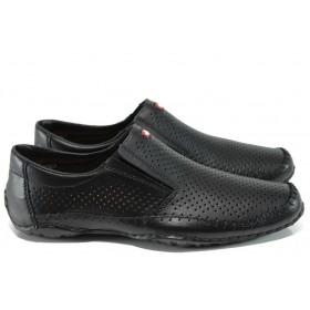 Мъжки обувки - естествена кожа - черни - EO-10806