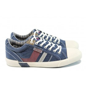 Спортни мъжки обувки - висококачествен текстилен материал - сини - EO-10827