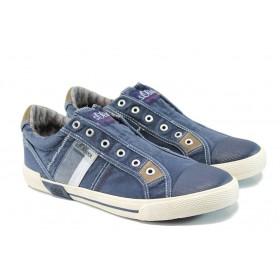 Спортни мъжки обувки - висококачествен текстилен материал - сини - EO-10828