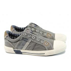Спортни мъжки обувки - висококачествен текстилен материал - сиви - EO-10829