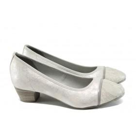 Дамски обувки на среден ток - висококачествена еко-кожа - сиви - EO-10830