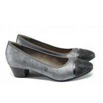 Дамски обувки на среден ток - висококачествена еко-кожа - черни - EO-10831