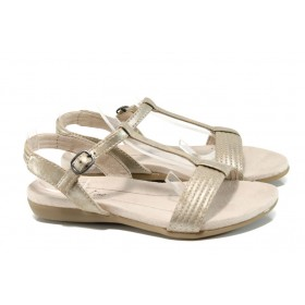 Дамски сандали - висококачествена еко-кожа - жълти - EO-10832