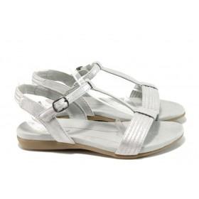 Дамски сандали - висококачествена еко-кожа - сребро - EO-10833