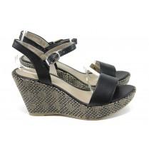 Дамски обувки на висок ток - висококачествена еко-кожа - черни - EO-10835