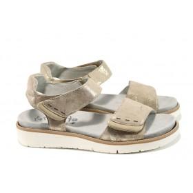 Дамски сандали - естествена кожа - жълти - EO-10909