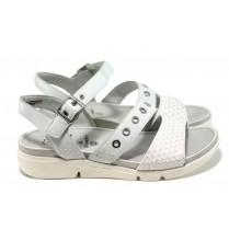 Дамски сандали - естествена кожа - бели - EO-11061