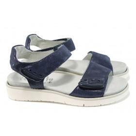 Дамски сандали - естествена кожа - тъмносин - EO-11063
