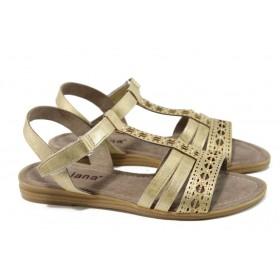 Дамски сандали - висококачествена еко-кожа - жълти - EO-11066