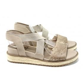 Дамски сандали - еко-кожа с текстил - бежови - EO-11064
