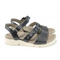 Дамски сандали - естествена кожа - черни - EO-11060