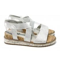 Дамски сандали - еко-кожа с текстил - сиви - EO-11065