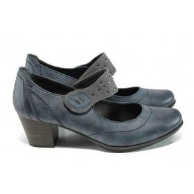 Дамски обувки на среден ток - висококачествена еко-кожа - тъмносин - EO-11160