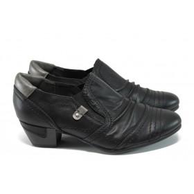 Дамски обувки на среден ток - висококачествена еко-кожа - черни - EO-11161