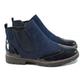 Дамски боти - висококачествен еко-велур и еко кожа-лак - сини - EO-11111