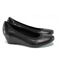 Дамски обувки на платформа - естествена кожа - черни - EO-11113