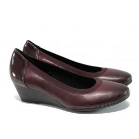 Дамски обувки на платформа - естествена кожа - бордо - EO-11112