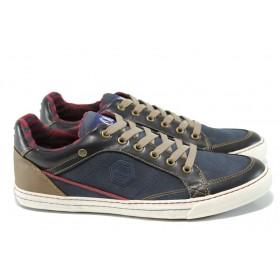 Спортни мъжки обувки - висококачествена еко-кожа - сини - EO-11164
