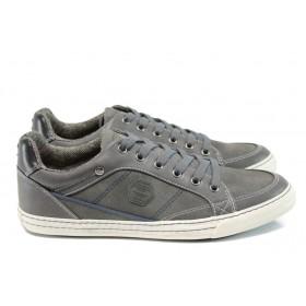 Спортни мъжки обувки - висококачествена еко-кожа - сиви - EO-11165