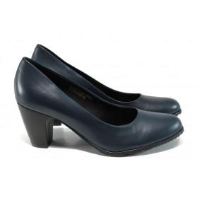 Дамски обувки на висок ток - естествена кожа - тъмносин - EO-11167