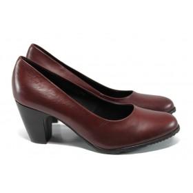 Дамски обувки на висок ток - естествена кожа - бордо - EO-11172