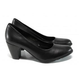 Дамски обувки на висок ток - естествена кожа - черни - EO-11173