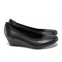 Дамски обувки на платформа - естествена кожа - тъмносин - EO-11174