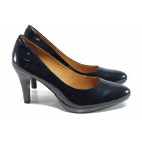 Дамски обувки на висок ток - естествена кожа-лак - сини - EO-11191