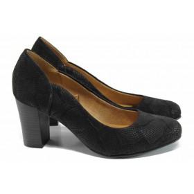 Дамски обувки на висок ток - естествена кожа - черни - EO-11190