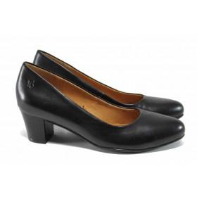 Дамски обувки на среден ток - естествена кожа - черни - EO-11192