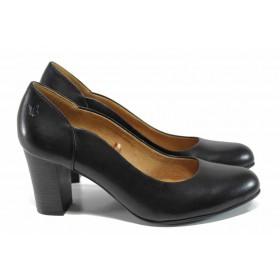 Дамски обувки на висок ток - естествена кожа - черни - EO-11225