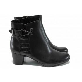 Дамски обувки на среден ток - естествена кожа - черни - EO-11250