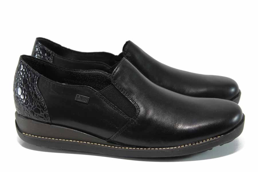 Равни дамски обувки - естествена кожа - черни - EO-11251
