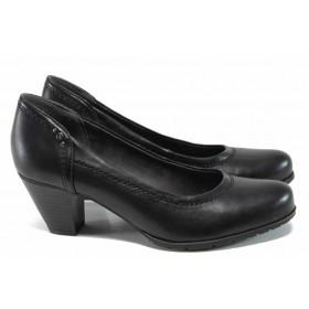 Дамски обувки на среден ток - висококачествена еко-кожа - черни - EO-11257