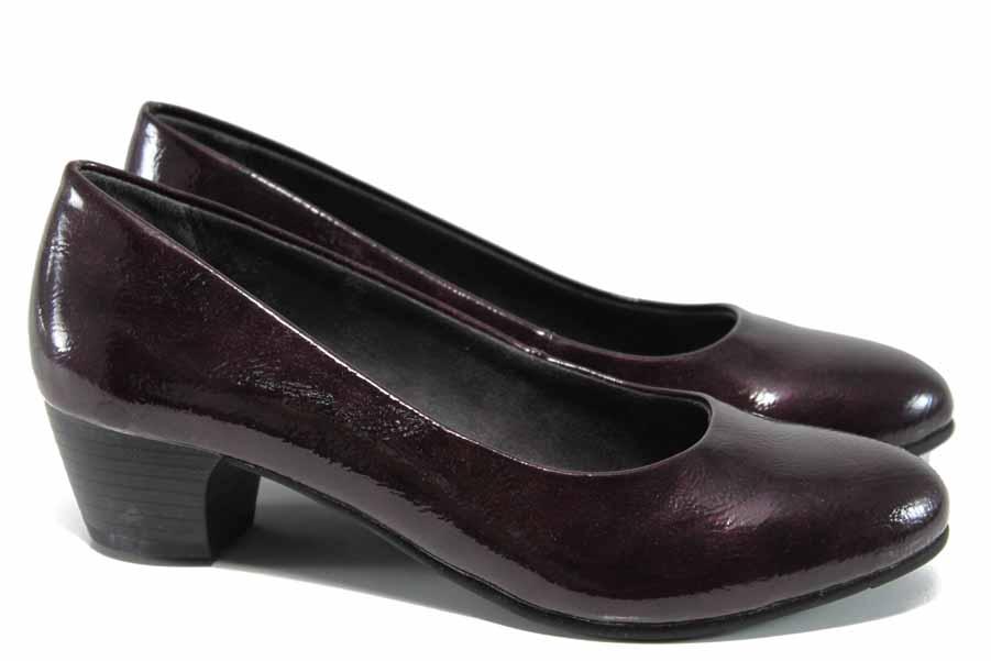 Дамски обувки на среден ток - еко кожа-лак - бордо - EO-11254