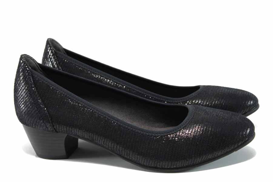 Дамски обувки на среден ток - висококачествен текстилен материал - черни - EO-11259