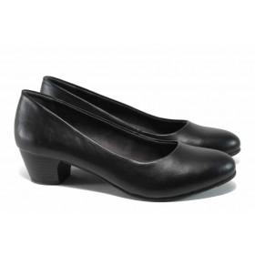 Дамски обувки на среден ток - висококачествена еко-кожа - черни - EO-11255