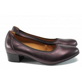 Дамски обувки на среден ток - естествена кожа - бордо - EO-11261