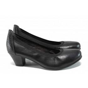 Дамски обувки на среден ток - естествена кожа - черни - EO-11260