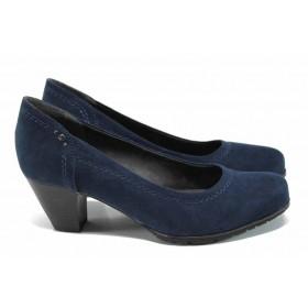 Дамски обувки на среден ток - висококачествен еко-велур - тъмносин - EO-11258