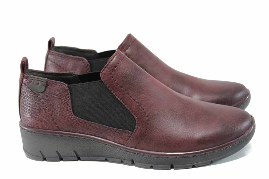 Равни дамски обувки - висококачествена еко-кожа - бордо - EO-11264