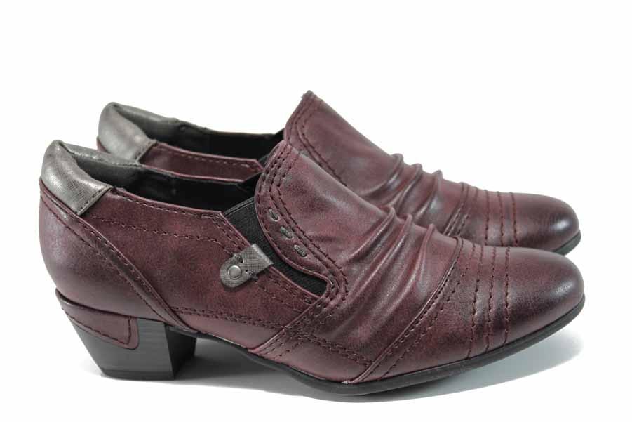 Дамски обувки на среден ток - висококачествена еко-кожа - бордо - EO-11263