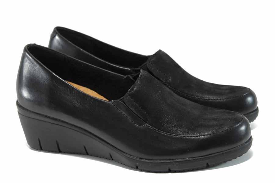 Равни дамски обувки - естествена кожа - черни - EO-11268