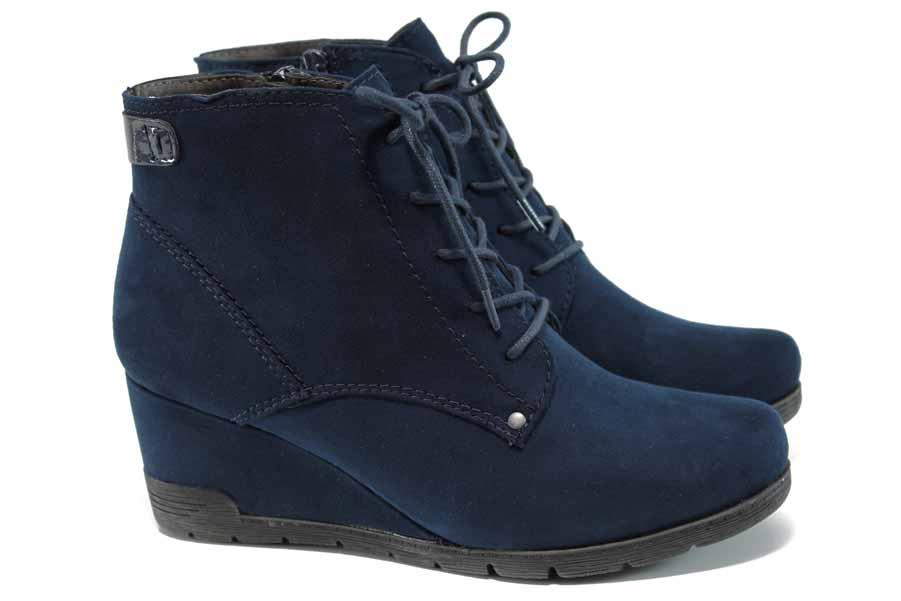 Дамски боти - висококачествен еко-велур - сини - EO-11277
